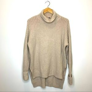 Boohoo Oversized Mock Neck High Low Ribbed Sweater